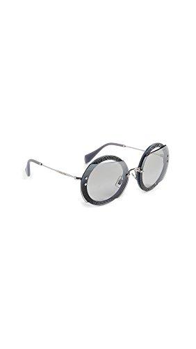 Miu Miu MU 06SS C8O1A0 Grey Plastic Round Sunglasses Silver Mirror Lens