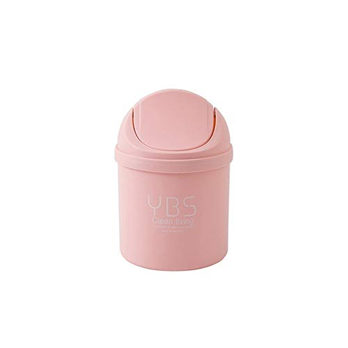 XVXFZEG Kunststoff-Papierkorb, Desktop-Mini Trash Can Eimer mit Deckel Covered for Badezimmer, Küchen, Home Offices, Kinderzimmer, Waste Paper Trash Can Recycling Bins (Größe: 8L) (Color : Rosa)