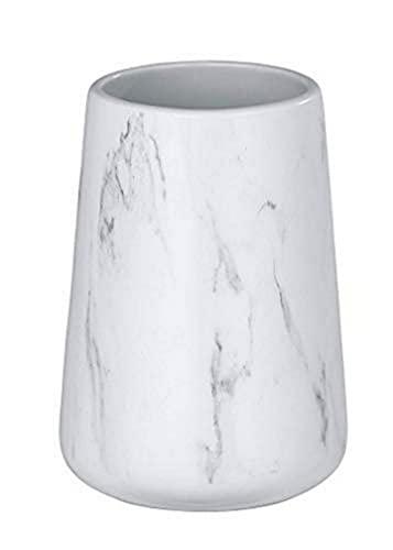 WENKO Bicchiere portaspazzolini Adrada bianco - Portaspazzolino per spazzolini e dentifricio, Ceramica, 8.5 x 12 x 8.5 cm, Bianco