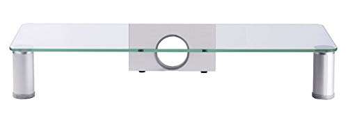 VCM TV-Aufsatz TV Glasaufsatz Monitor Erhöhung Fernseh Aufsatz Glas Silber/Klarglas