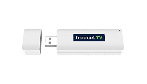freenet TV USB TV-Stick für DVB-T/T2 HD Empfang auf PC/Laptop (HD-TV-Empfang über Antenne, mit Standfuß und Monitor-Clip, HEVC H.265, TV Tuner, Mobiler DVB-T2 Empfänger) Weiß