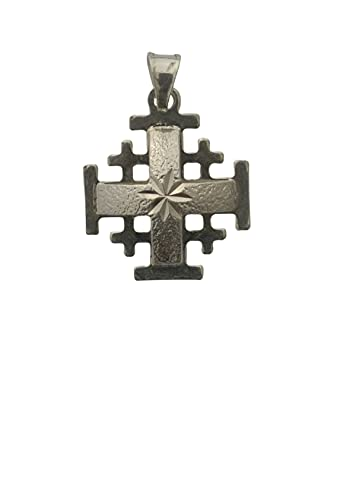 Sterling Silver (925) Pendant Handcrafted in the Holy Land Jerusalem Crusaders cross. Cross is shaped with a dome like the Holy Sepulcher church and the Bethlehem star. Cross is hand engraved with Jer