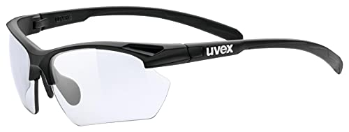 uvex Unisex– Erwachsene, sportstyle 802 V small Sportbrille, selbsttönend, schmale Passform, black mat/smoke, one size