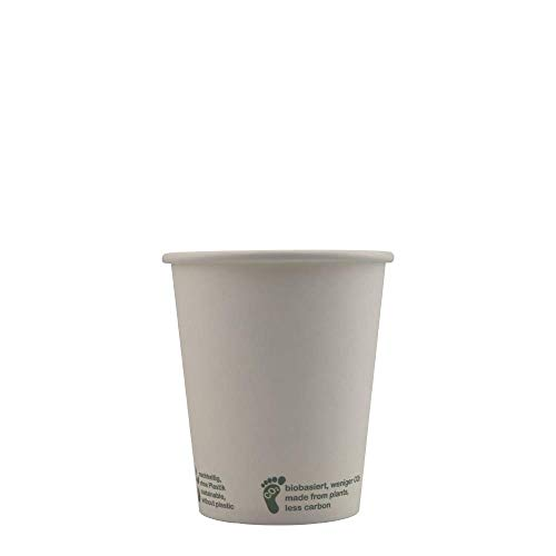 PLA Kaffeebecher weiss | 50 Stück Pappbecher 200 ml 8 oz | kompostierbar und biologisch abbaubare Einweg Trinkbecher | Coffee to Go Becher aus Karton | Einweg Geschirr für Kalt und Heißgetränk