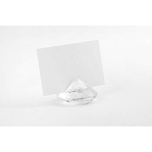 PartyDeco 10 Tischkarten Diamant transparent ca. 4 cm