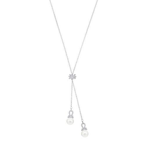 Swarovski Originally Y-Halskette, Rhodinierte Damenhalskette mit Edlen Kristallperlen und Schimmerndem Kristallpavé