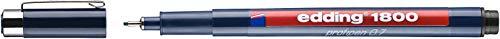 Edding 1800 Profipen - Bolígrafo de punta fina para dibujo técnico (punta de 0,7 mm, 10 unidades), color negro