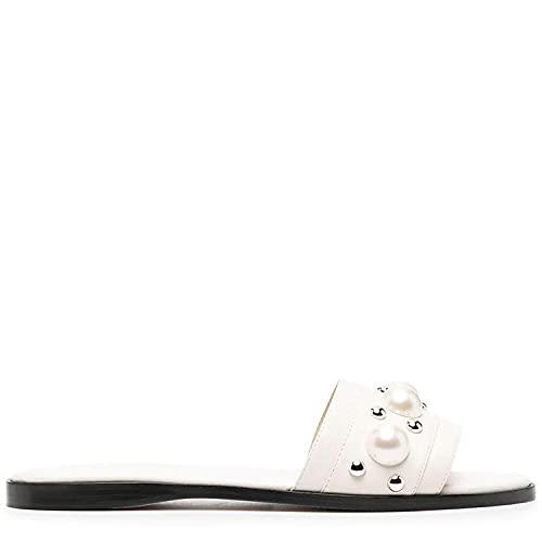 Sandalia Casual con Tiras,Zapatillas de Fondo Grueso de la Moda de Ocio, Zapatillas Planas de la Playa de la Playa-Blanco_39,Sandalias de Ducha