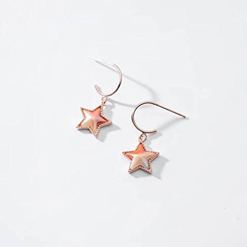 BEWITCHYU Pendientes de Plata S925, Pendientes de Corazón de Niña con Gancho de Oreja de Estrella Degradada para Mujeroro y rosa, Plata 925