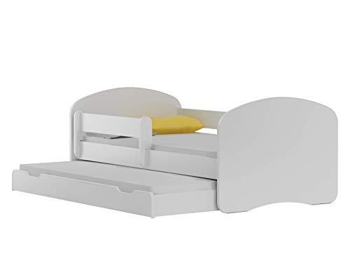 BDW NEU Kinderbett mit 2 Liegeflächen und 2 Matratzen DOPELLBETT 180x90 - für Mädchen und Jungen JUGENDBETT || KOSTELNOS Versand || (Weiß, 200x90)