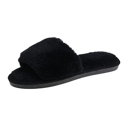 Zapatillas Peluche Algodón,Zapatillas de Piel de Invierno, Zapatillas de algodón de Punta Abierta cálida Plana-Negro_40-41,Hombre Invierno Memory Foam Pantuflas