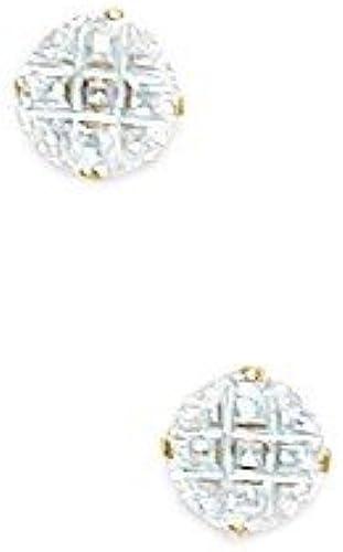 orden ahora disfrutar de gran descuento 14ct oro amarillo 5 mm 9 segmento rojoondo CZ CZ CZ cesta pendientes - JewelryWeb  opciones a bajo precio