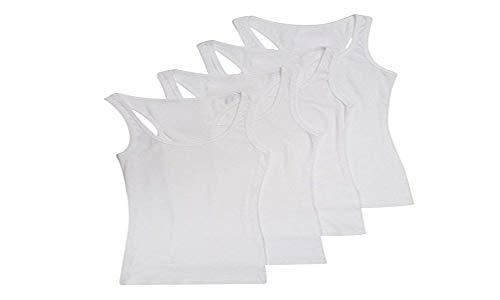 Zenana Outfitters 4 Pack Womens Basic Ribbed Racerback Tank Top (2X, White/White/White/White)