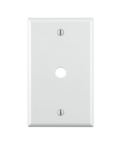 Leviton 88013 1-Gang .406 Inch Hole Device Telephone/Cable Wallplate, Standard Size, Thermoset, Box Mount, White