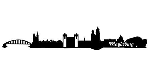 Samunshi® Wandsticker Magdeburg Skyline schwarz 30x4,9cm
