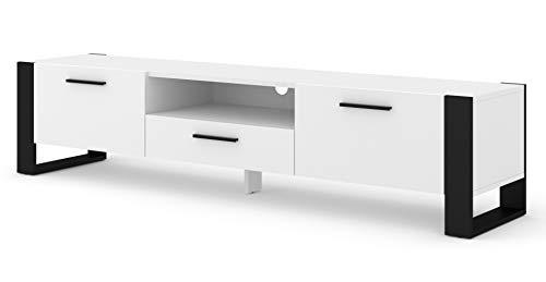 BIM Furniture TV Stand Nuka 200 cm Lowboard Schrank TV Tisch Sideboard Kommode Hi-Fi Tisch (Weiß)