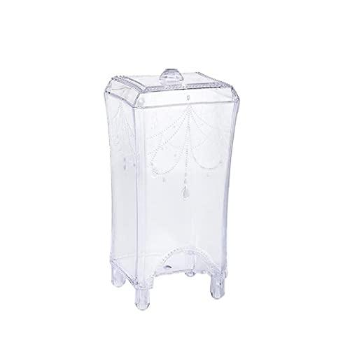 Bureau coton Pad Clear Storage maquillage en plastique coton Organisateur avec couvercle simple extraction Coiffeuse multifonctions (clair) douce, agréable pour la peau du visage