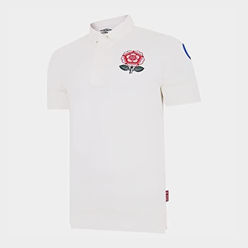 TR-yisheng Camiseta de Rugby de la edición del 150 Aniversario de Inglaterra, Camiseta de Deportes al Aire Libre Unisex Camiseta de Polo Camiseta de Entrenamiento de Manga Corta Blanca