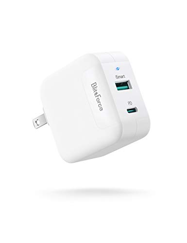 iPhone MacBook 2-Port Fast Charger 65W/20W, 20W USB-C Charger for iPhone 12 Mini/12 Pro/12 Pro Max/11/8, 65W PD3.0 USB-C &USB-A Charger with Foldable Plug for MacBook Pro/Air, Surface Pro