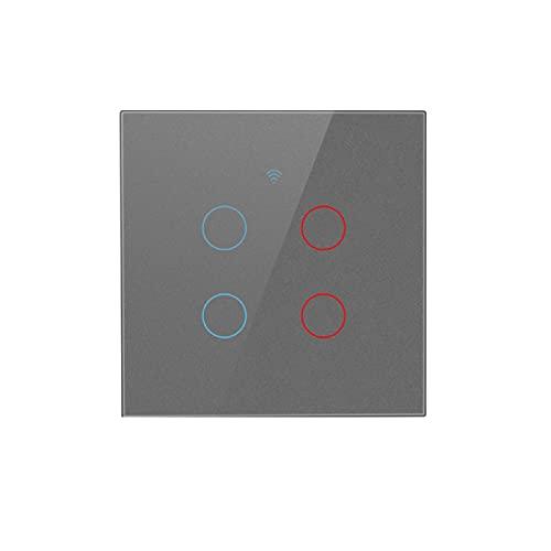 Interruptor Inteligente Universal Zero-Fire 1/2/3/4 Gang Tuya Wifi Interruptor Táctil Inteligente Interruptor de Botón de Luz Doméstica Adecuado para Dormitorio Familiar Sala de