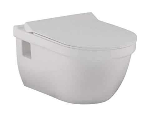 WC - Toilette | Wand WC · Keramik Toilettenschüssel · inkl. Toilettendeckel mit Absenkautomatik BWC-07 | Burgtal 17807