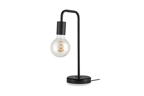 LIFA LIVING Lampe de Chevet LED Intérieur, Ampoule E27, en Marbre Noir, 60 W, Lampe de Bureau Design et Moderne, Câble de 120 cm, Chambre, Salon, Bureau