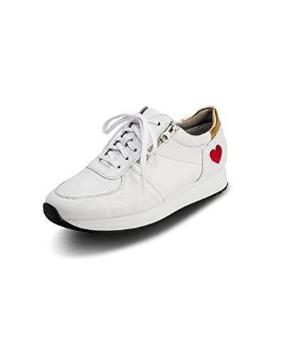VITAFORM Sneaker Damen feines Hirschleder Leichte Bequeme Schuhe Luftpolsterfußbett Echt Leder weiche Halbschuhe Weite H (Weiß, Numeric_37)