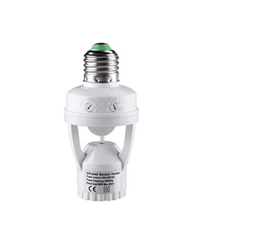 ABJFBJO 100-240V Socket E27 convertidor con PIR Sensor de Movimiento ampolla LED E27 Base de lámpara Intelligent Light Bombilla Interruptor (Color : White)