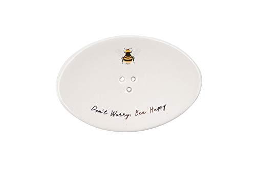CGB Giftware 'Maak je geen zorgen bij gelukkig' Bee Design Soap Bar Schaal | Houder | Stand | Tidy | Organisator Wordt geleverd in geschenkverpakking | GB04707
