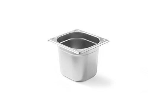 HENDI Temperaturbeständig von -40° bis 300°C, Heissluftöfen-Kühl- und Tiefkühlschränken-Chafing Dishes-Bain Marie, Stapelbar, 2,4L, GN 1/6, 176x162x(H)150mm, Edelstahl, 2,4 liter
