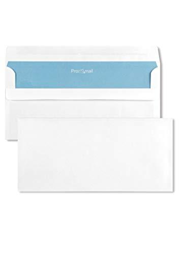 1000 weiße Briefhüllen DIN lang ohne Fenster 110X220 mm 80g Brief-Umschläge weiß mit blauem Innendruck gerade Klappe selbstklebend weiße Briefkuverts ohne Fenster Geschäfts-Umschläge DL weiß