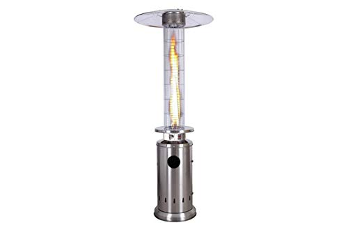DRIWEI Stufa a Gas Fungo Fire Glass 13kW Acciaio Inox 221cm Cilindro Ruote KE2020/INOX
