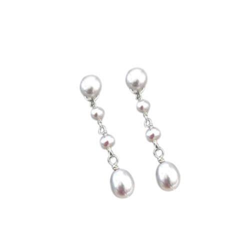 Wangzhuoyue Pendientes largos hechos a mano de plata esterlina 925 de perlas de agua dulce naturales Fashion Lady