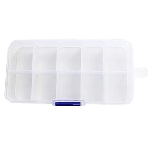 EPOU Joyero Joyería de la Caja 10 de cuadrícula Simple de una Sola Capa Multi de la Red Principal con Tapa Transparente de Gran Capacidad de la joyería Caja de plástico contenedor Organizador jewlwey