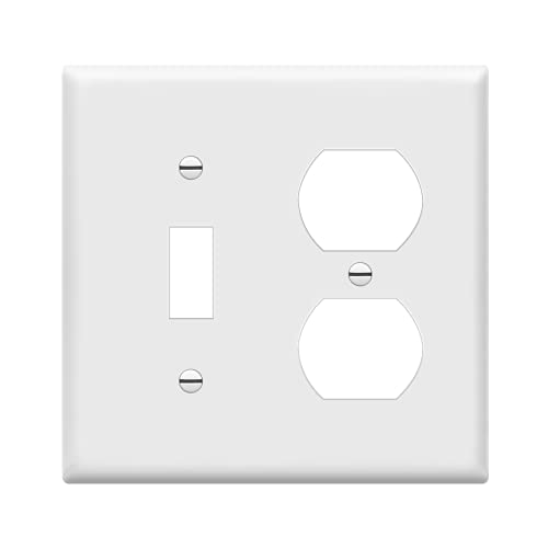 ENERLITES Combination Toggle Light Switch/Duplex Receptacle Outlet Wall Plate Cover, Standard Size 2-Gang 4.50