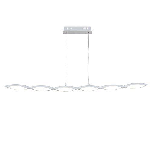 Lámpara colgante alargada en acabado blanco mate, estilo simple, contemporáneo y elegante (6 Leds x 5 W,3000K largo 100 cm, altura de130 cm)