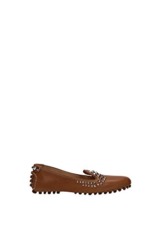 Car Shoe B4992 Mocassino Donna Scarpa Cuoio Borchie Shoe Loafer Woman [36.5]