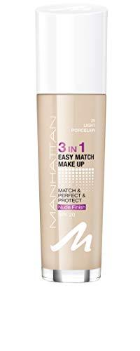 Manhattan 3in1 Easy Match Make Up, ölfreie Foundation für einen makellosen Teint, Farbe 29 light porcelain, 30ml