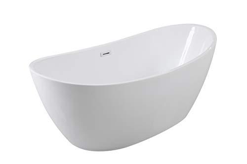 Besco AYLA 170 x 80 cm exklusive freistehende Badewanne + Ablaufgarnitur Click Clack mit Überlauf
