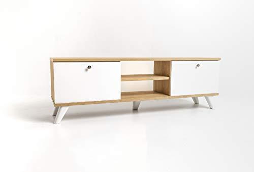 mimilos Mueble para televisión, armario de TV, sonom, mueble bajo para TV, 30 x 131 x 43 cm, mueble para televisión, mueble de TV, estante fácil de limpiar, mueble para el salón (Sonom)