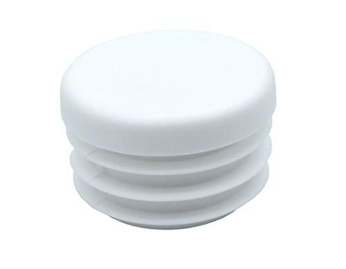 10 Piezas de tapas redondas de plástico para tuberías, tamaños elegible de 10mm a 120mm, tapón/contera/protector/funda/pata mueble (diámetro exterior: 40mm, espesor de pared: 1-2mm, Blanco)