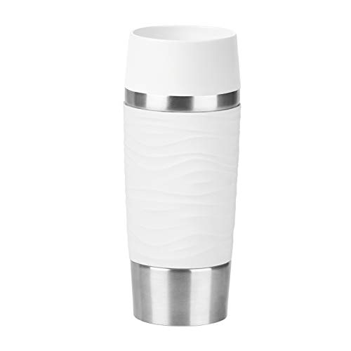 Emsa N2011000 Travel Mug Waves Isolierbecher, Thermobecher, 0,36 L, Weiß