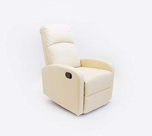 Astan Hogar Confort AH-AR30600CR Premium-Sillón Relax con Reclinación Manual, Tapizado en PU Anti-Cuarteo, Crema