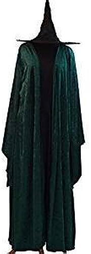 CL COSTUMES Halloween-Wizard Schule-Magie-Mcgonagall Hogwarts Hexe Kleid, Mantel & HAT Damenmode Kleid Kostüm - Von Grün 10-42 - Ladies  16-20
