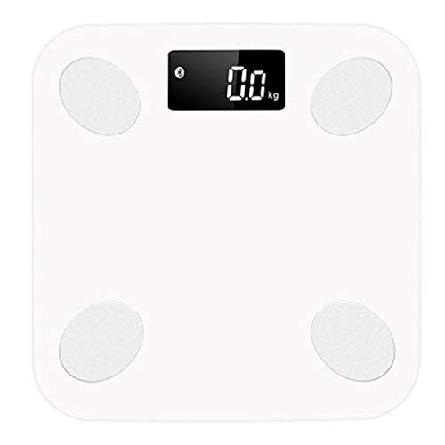 Escala de pesaje Suelo Cuerpo Escala de peso Báscula Básipate Smart Backlit Pantalla Escala de cuerpo Peso corporal Escala de peso corporal Escala electrónica (Color: Blanco) WDH666 (Color : White)