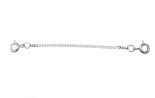 ANTOMUS 2.5 INCH QUALITY CLIP ON SAFETY CHAIN SOLID SILVER (925) 1.5mm WIDE 5mm BOLTRINGS