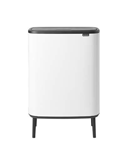 Brabantia - 130601 - Poubelle Bo Touch Bin Hi, 2 x 30L , White
