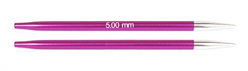 KnitPro wechselbare Nadelspitzen ZING lang, 5,00mm Rundstricknadel, Aluminium, Rubin, 12.5 x 0.5 x 0.5 cm, 2-Einheiten
