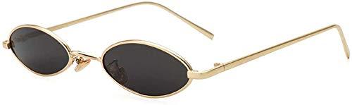 GMYQ Gafas de sol ovaladas vintage para mujer, marco de metal delgado, colores caramelos, clásico, redondo, retro, marco de plástico, vintage, grandes lentes de sol, color gris