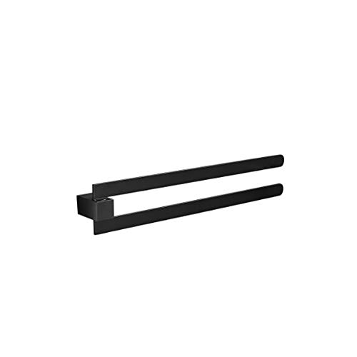 LYMJJ Rotativa de Toallas, Toalla Doble extraíble Rack, Negro Mate baño Toalla Rack